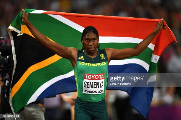 Caster Semenya of South Africa celebrates winning gold in the Women's 800 Metres final during day ten of the 16th IAAF World Athletics Championships...