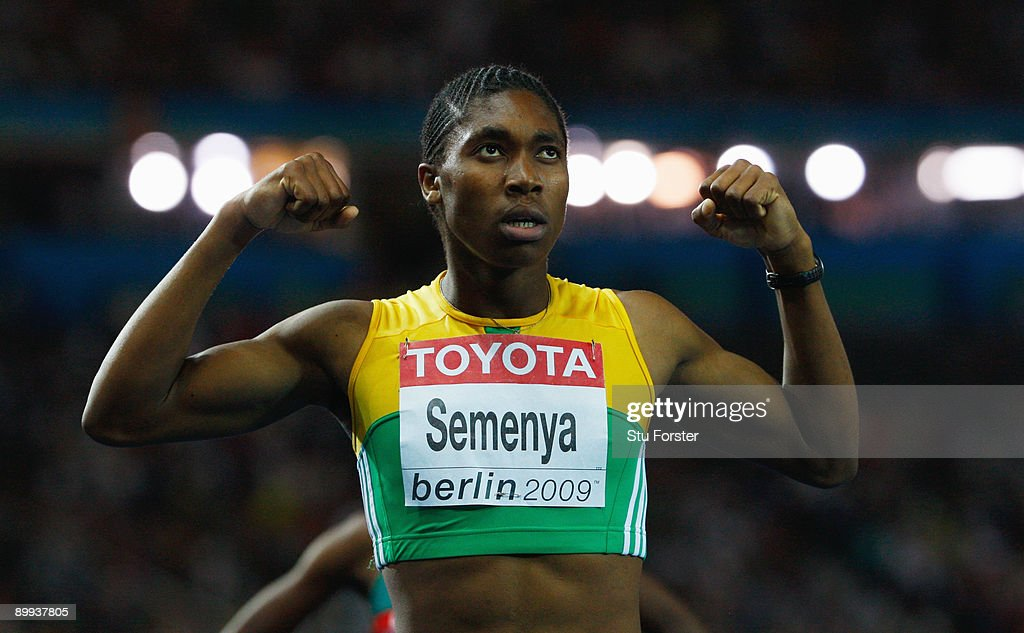 Caster Semenya of South Africa celebrates winning the gold medal in the women's 800 Metres Final during day five of the 12th IAAF World Athletics Championships at the Olympic Stadium on August 19, 2009 in Berlin, Germany.
