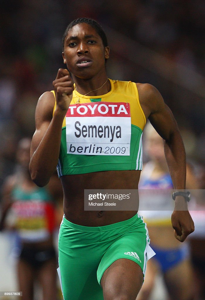 Caster Semenya of South Africa competes in the women's 800 Metres Final during day five of the 12th IAAF World Athletics Championships at the Olympic Stadium on August 19, 2009 in Berlin, Germany.