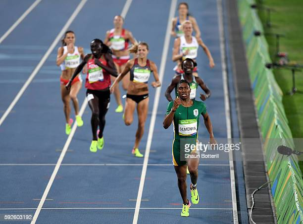 Caster Semenya of South Africa leads the field during the Women's 800 meter Final on Day 15 of the Rio 2016 Olympic Games at the Olympic Stadium on...