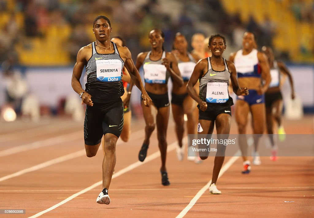<a gi-track='captionPersonalityLinkClicked' href=/galleries/search?phrase=Caster+Semenya&family=editorial&specificpeople=6144507 ng-click='$event.stopPropagation()'>Caster Semenya</a> of South Africa races to the line to win the Women's 800 metres final ahead of Habitam Alemu of Ethiopia during the Doha IAAF Diamond League 2016 meeting at Qatar Sports Club on May 6, 2016 in Doha, Qatar.