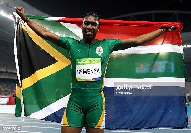 Caster Semenya of South Africa reacts after winning gold in the Women's 800 meter Final on Day 15 of the Rio 2016 Olympic Games at the Olympic...