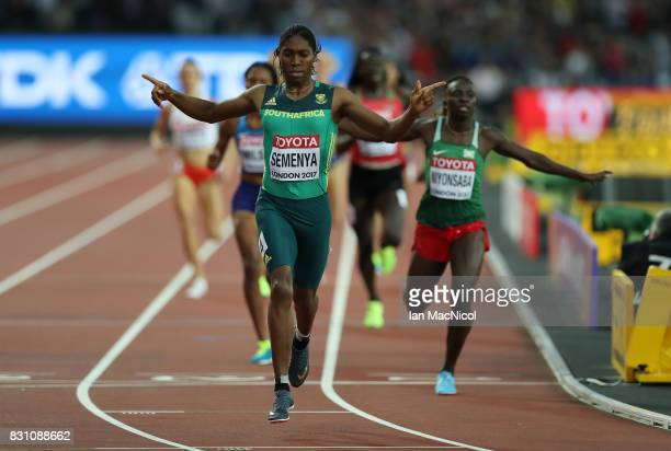 Caster Semenya of South Africa win's the Women's 800m final during day ten of the 16th IAAF World Athletics Championships London 2017 at The London...