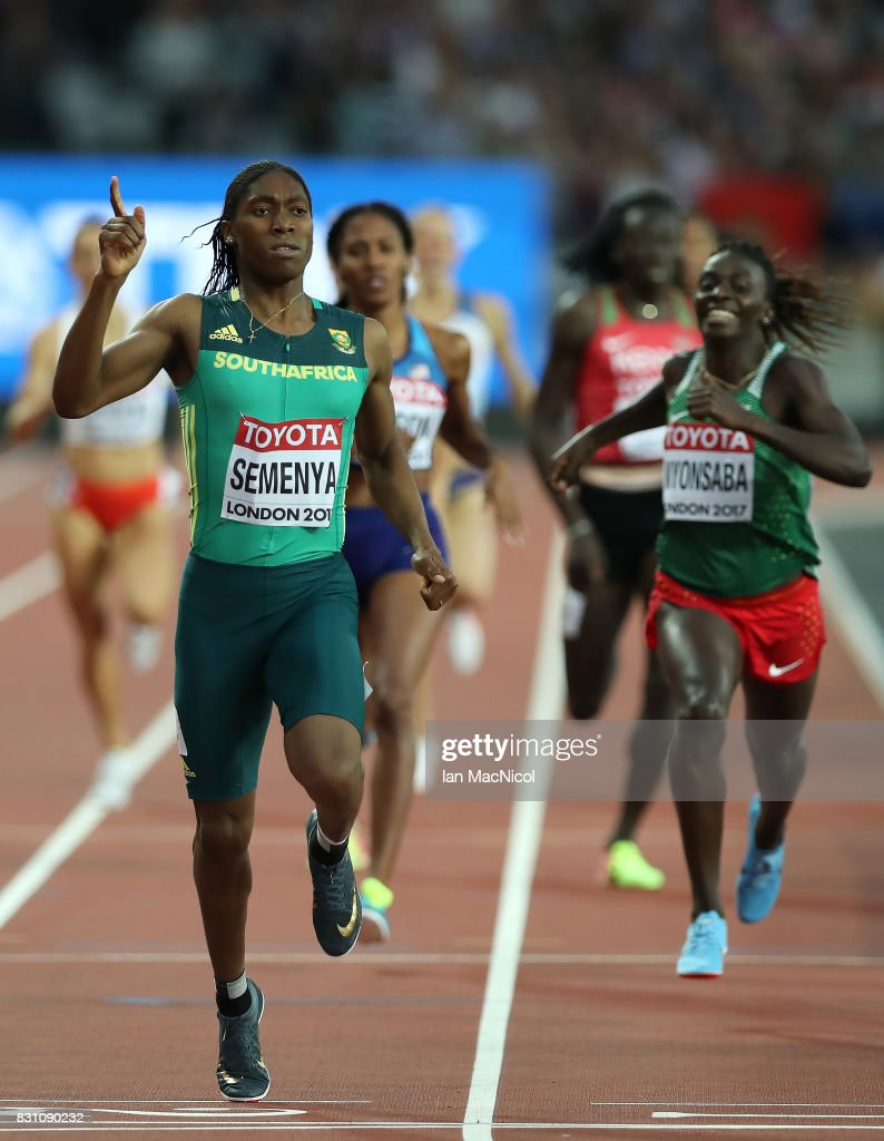 Caster Semenya of South Africa win's the Women's 800m final during day ten of the 16th IAAF World Athletics Championships London 2017 at The London Stadium on August 13, 2017 in London, United Kingdom.