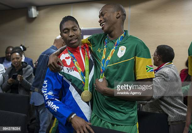 Caster Semenya who won gold medal in women's 800m and Luvo Manyonga who won silver medal in Men's long jump in Rio 2016 Olympic Games congratulate...