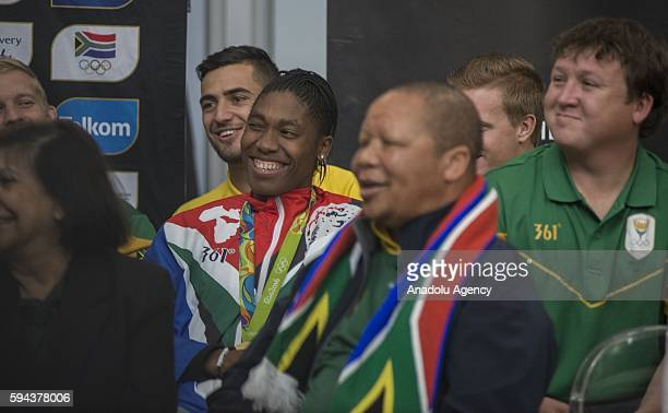 Caster Semenya who won gold medal women's 800m in Rio 2016 Olympic Games is welcomed by South Africans at O R Tambo International Airport in Gauteng...