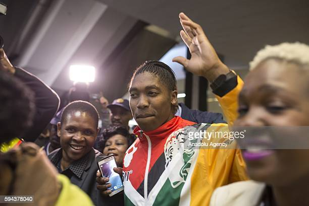 Caster Semenya who won gold medal women's 800m in Rio 2016 Olympic Games greets people at O R Tambo International Airport in Gauteng province of...