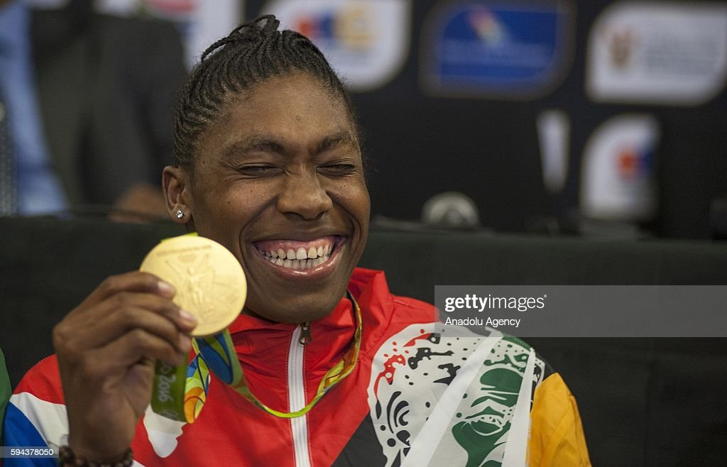 Caster Semenya, who won gold medal women's 800m in Rio 2016 Olympic Games, pose with her gold medal at O. R. Tambo International Airport in Gauteng province of Johannesburg, South Africa on August 23, 2016. South Africa team won two gold, six silver and two bronze medals in Rio 2016 Olympic Games.
