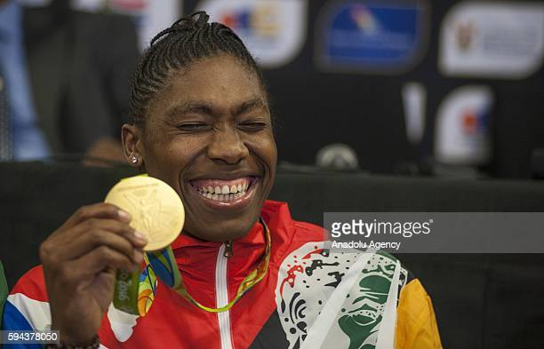 Caster Semenya who won gold medal women's 800m in Rio 2016 Olympic Games pose with her gold medal at O R Tambo International Airport in Gauteng...