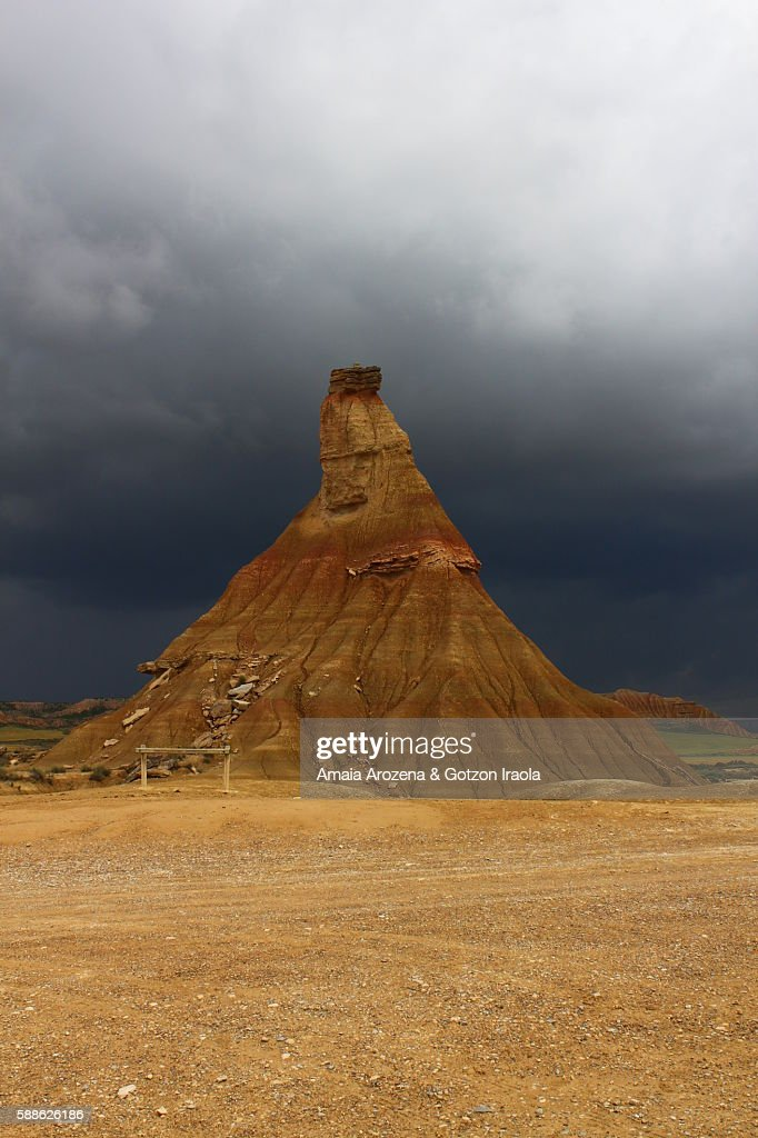 Castildeterra natural monument before a storm in Bardenas Reales, Navarre