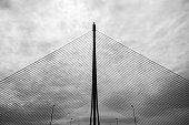 Silhouette of the infamous cable-stayed bridge in Talavera de la Reina over the river Tagus against a cloudy sky, one of the symbols of the construction bubble in Spain. At 192 meters, it is the highe
