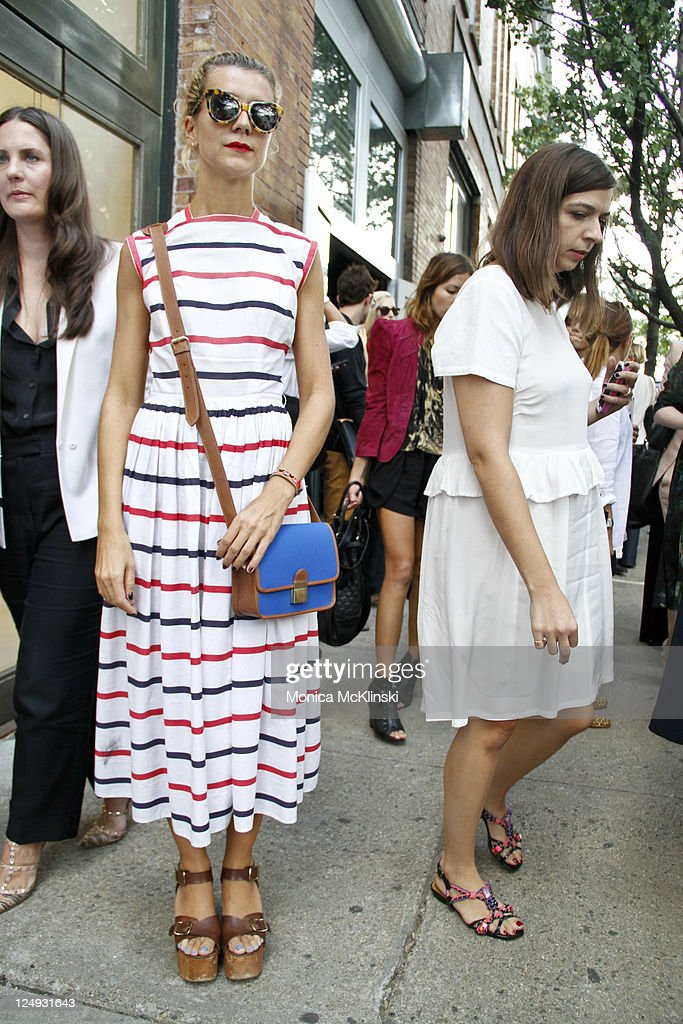 Casting Agent, Natalie Joos wearing a Vintage dress, Celine shoes and Karen Walker sunglasses departs the Theyskens' Theory Showing at Center 548 in Manhattan during Spring 2012 Fashion Week on September 13, 2011 in New York City.