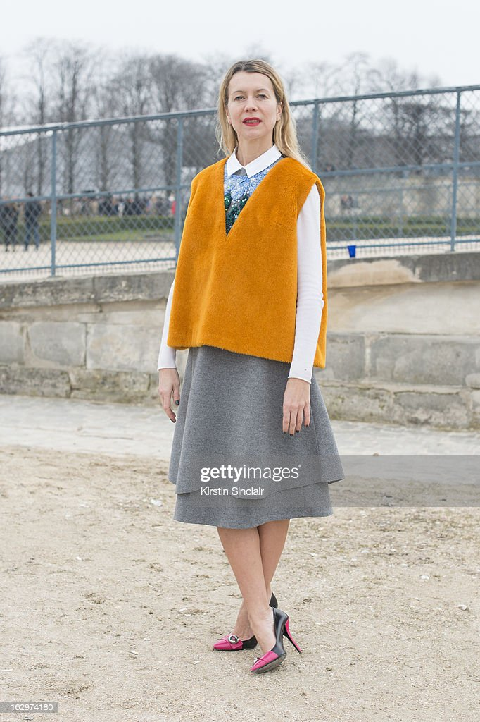 Casting agent Natalie Joos wears a J Crew sweater, Prada shoes ,Vika Gazinskaya dress and top on day 2 of Paris Womens Fashion Week Autumn/Winter 2013 on March 1, 2013 in Paris, France.