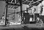 Casting cannon 17511780 A furnace is being tapped to allow molten metal to run into the moulds at the feet of the workmen on the left On the right a...