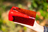 Casting epoxy resin stabilizing wood has tiger stripe red color abstract art background