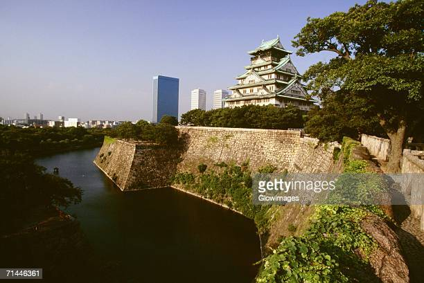 Castle along a moat, Osaka Castle, Osaka, Japan