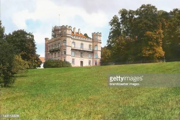 Castle Berg at Lake Starnberg Bavaria Germany Handcolored lantern slide around 1900