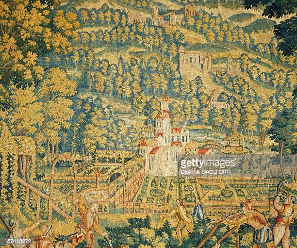 Castle in the woods detail from The wolf hunt late 16th century Flemish tapestry from cartoons by Cornelius Mattens Brussels manufacture Belgium 16th...