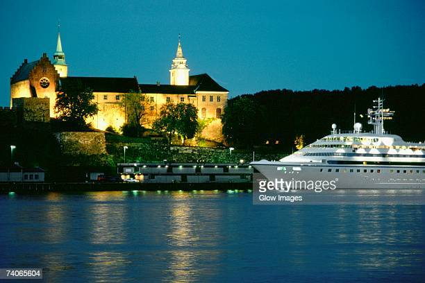 Castle lit up at night, Akershus Fortress, Oslo, Norway