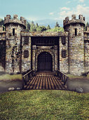 Fantasy castle with a moat and drawbridge. 3D render.