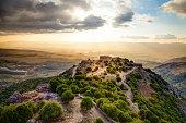 Ruins of medieval fortess Nimrod in northern Golan Heights in Israel