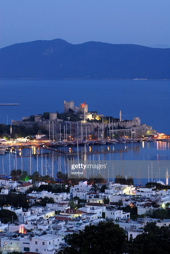 Castle of St Peter in Bodrum, Turkey at dusk : Stock Photo