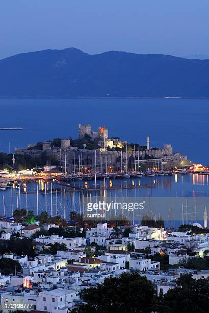 Castle of St Peter in Bodrum, Turkey at dusk