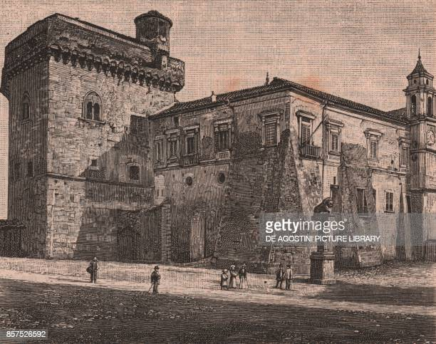 Castle of the Rectors former Prefecture Palace Benevento Campania Italy woodcut from Le Cento citta d'Italia illustrated monthly supplement of Il...
