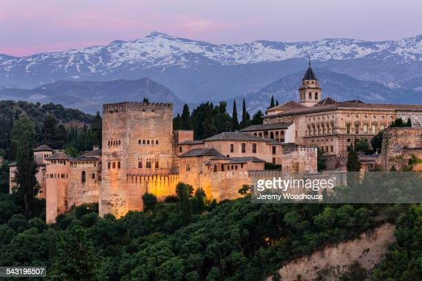 Castle on hilltop, Granada, Andalusia, Spain