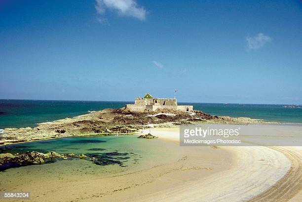 Castle on the beach, Saint Malo Island, Grand Bey Beach, North Brittany, France