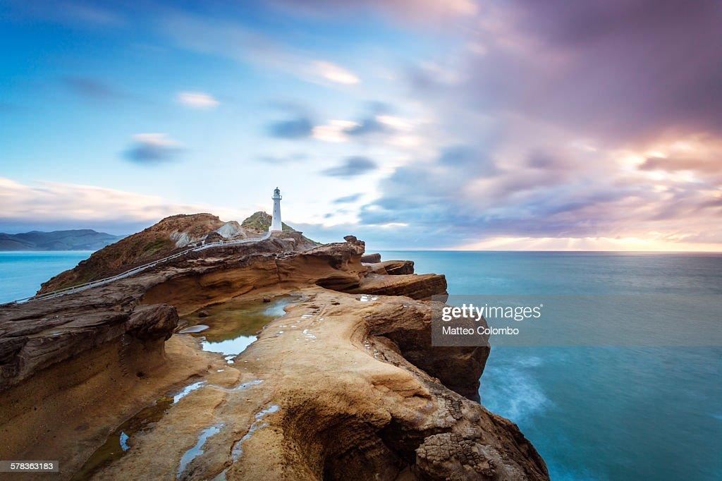 Castle Point Lighthouse at sunrise, New Zealand : Stock Photo