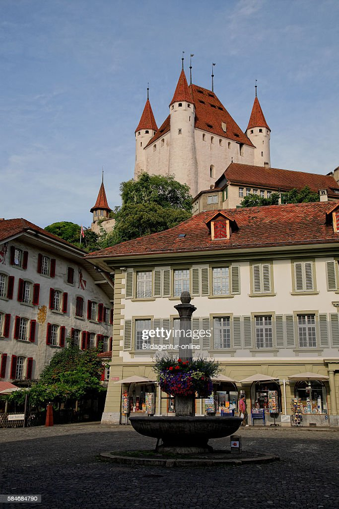 Castle Thun over City Hall Square Bern Berneese Oberland Switzerland