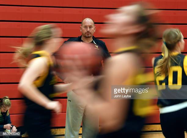 Castle View girls basketball head coach Matt Hema looks on during practice on November 28 2017 at Castle View high school