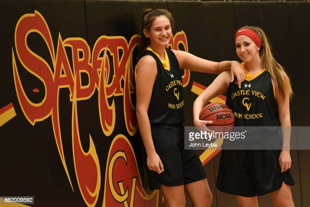 Castle View girls basketball players Madison Hema and McKay Vansickle before practice on November 28 2017 at Castle View high school