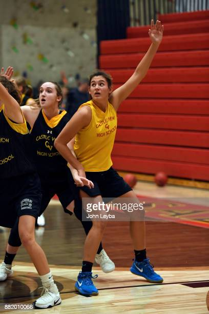 Castle View girls basketball players Madison Hema looks for the ball during practice on November 28 2017 at Castle View high school