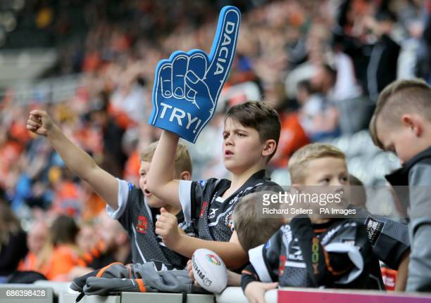 Castleford fans celebrate during day two of the Betfred Super League Magic Weekend at St James' Park Newcastle