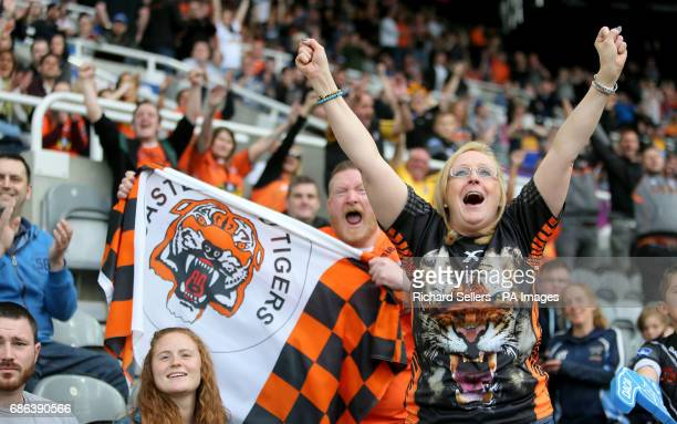 Castleford Tigers fans celebrate during day two of the Betfred Super League Magic Weekend at St James' Park Newcastle
