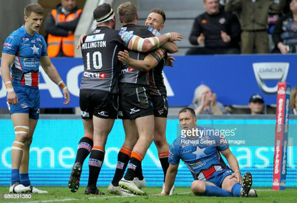 Castleford Tigers' Greg Eden celebrates scoring a try during day two of the Betfred Super League Magic Weekend at St James' Park Newcastle
