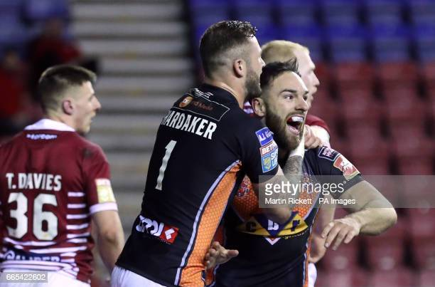 Castleford Tigers' Luke Gale celebrates scoring a try during the Betfred Super League match at The DW Stadium Wigan