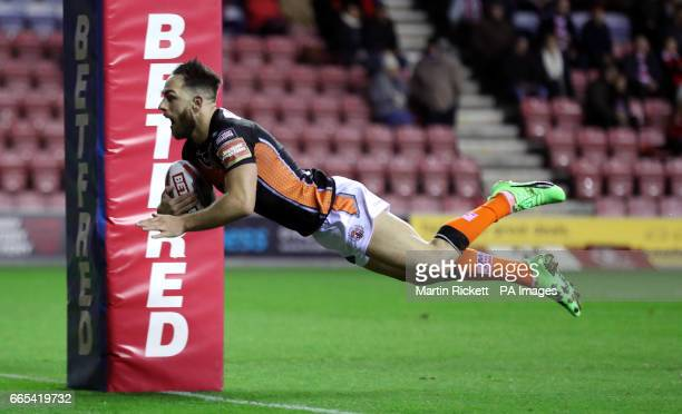 Castleford Tigers' Luke Gale goes over for a try during the Betfred Super League match at The DW Stadium Wigan
