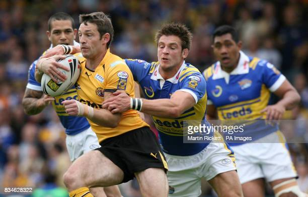 Castleford's Stuart Donlan is tackled by Leed's Simon Worrall during the engage Super League match at Headingley Carnegie Stadium Leeds
