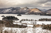 A view from Castlehead, overlooking Derwentwater, Keswick, Cumbria, Lake District, England.