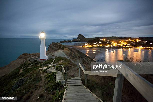 Castlepoint Lighthouse shining at night