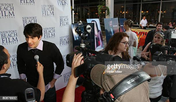 Castmember actor Brandon Routh does an interview during the 2008 Newport Beach Film Festival Premiere of 'Lie to Me' held at the Lido Theater on...