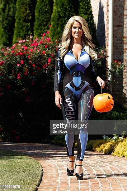 Castmember Kim Zolciak of the Real Housewives of Atlanta Trick or Treats in her SVEDKA_GRL Halloween Costume on October 22 2011 in Roswell Georgia