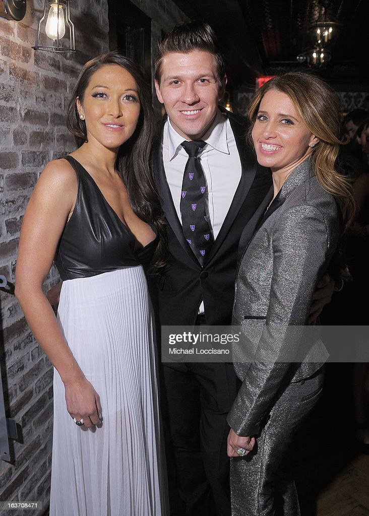 Castmembers Candice Kumai, Daniel Koch and Anna Boiardi attend the 'Playing With Fire' premiere after party at Chateau Cherbuliez on March 14, 2013 in New York City.
