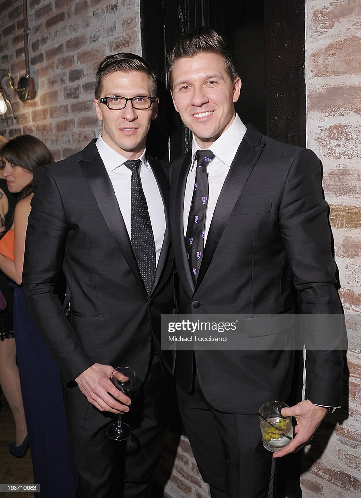 Castmembers Derek Koch (L) and brother Daniel Koch attend the 'Playing With Fire' premiere after party at Chateau Cherbuliez on March 14, 2013 in New York City.
