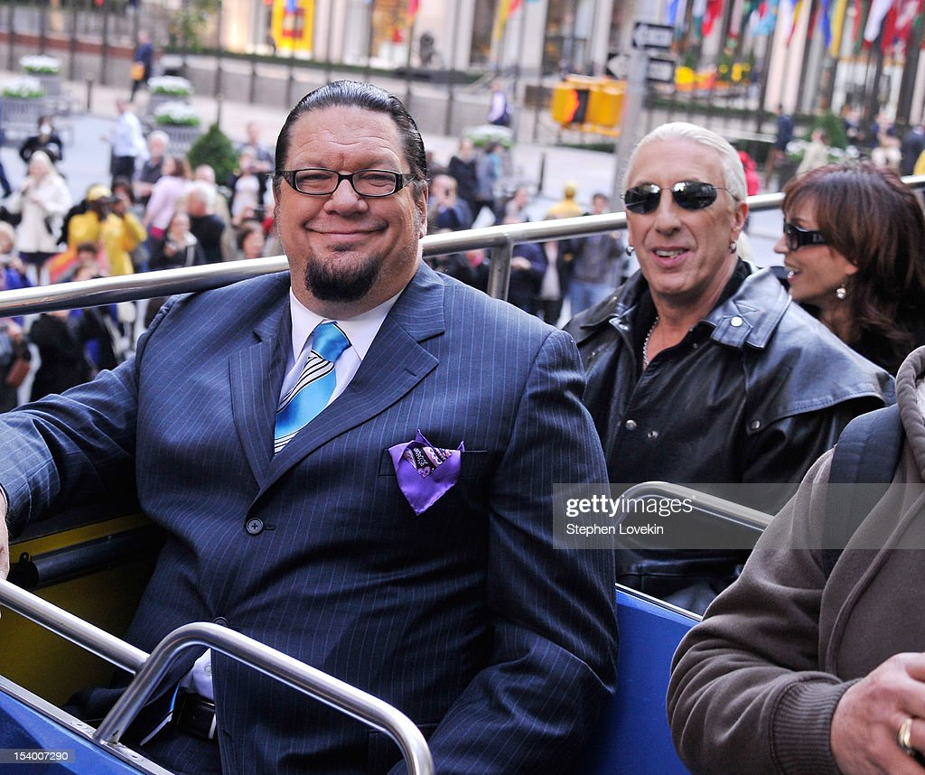 Castmembers illusionist/magician <a gi-track='captionPersonalityLinkClicked' href=/galleries/search?phrase=Penn+Jillette&family=editorial&specificpeople=547802 ng-click='$event.stopPropagation()'>Penn Jillette</a> and singer <a gi-track='captionPersonalityLinkClicked' href=/galleries/search?phrase=Dee+Snider&family=editorial&specificpeople=239139 ng-click='$event.stopPropagation()'>Dee Snider</a> attend the 'Celebrity Apprentice All Stars' Season 13 Bus Tour at on October 12, 2012 in New York City.