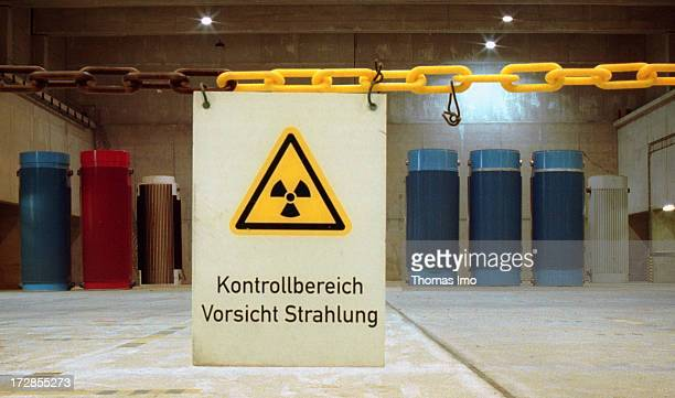 Castor Containers with highly radioactive waste are pictured at interim storage Gorleben