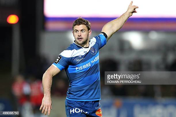 Castre's French scrum half Rory Kockott gestures during the French Top 14 rugby union match between Agen and Castres on November 28 2015 at Armandie...